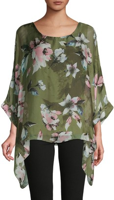 Le Marais Floral Asymmetrical Silk Top