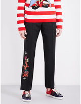 Gucci Dragon-embroidered Regular-fit Wool And Mohair-blend Trousers