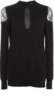 ADAM by Adam Lippes Cashmere Crewneck with Lace Shoulders