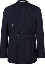 Boglioli Blue Slim-Fit Double-Breasted Wool-Hopsack Blazer