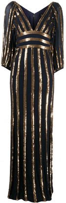 Jenny Packham Claudia sequin stripe dress