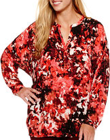 JCPenney A.N.A a.n.a Long-Sleeve Embellished Blouse - Plus