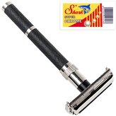 Parker 96R - Long Handle Butterfly Open Double Edge Safety Razor & 5 SHARK blades