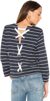 Splendid Dune Stripe Lace Up Back Top in Navy. - size S (also in XS)