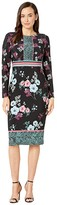 Maggy London Placed Pebble Blossom Jersey Sheath Dress (Black/Blue/Rose) Women's Dress