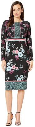 Maggy London Placed Pebble Blossom Jersey Sheath Dress (Black/Blue/Rose) Women's Dress