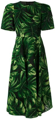 Dolce & Gabbana Leaf-Print Flocked Midi Dress