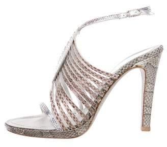Rene Caovilla Crystal-Embellished Snakeskin Sandals