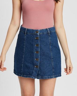 Only Machine High-Waisted Button Denim Skirt