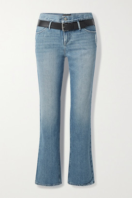 RtA Dexter Belted Distressed High-rise Straight-leg Jeans - Mid denim