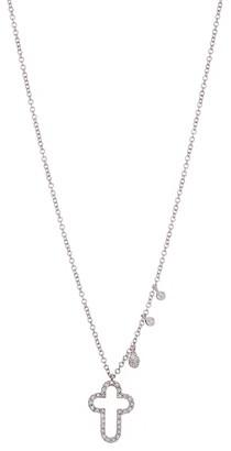 Meira T 14K White Gold Pave Diamond Open Cross Pendant Necklace
