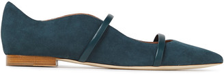 Malone Souliers Maureen Leather-trimmed Suede Point-toe Flats