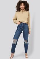 NA-KD Hanna Martine X Ripped Knee Mom Fit Jeans