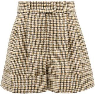 Miu Miu Pleated Houndstooth Wool Shorts - Beige Multi