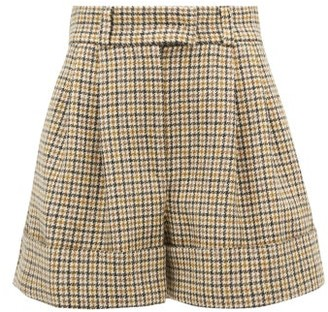 Miu Miu Pleated Houndstooth Wool Shorts - Womens - Beige Multi
