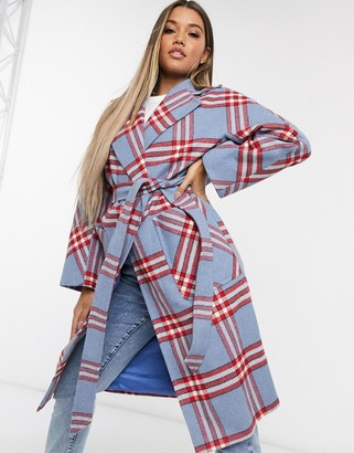 Helene Berman belted coat in blue check