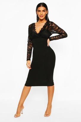 boohoo Long Sleeve Lace Top Midi Dress