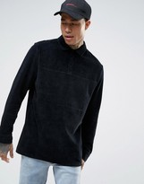 Asos Longline Long Sleeve Polo Shirt In Black Velour With Rugby Styling