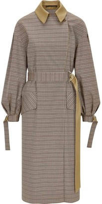 Palones Puff Sleeve D-Ring Check Trench Coat