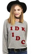 Wildfox Couture IDK IDC Monte Crop Sweater in Heather Vanilla Latte