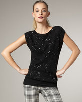 Sequined Cap-Sleeve Sweater