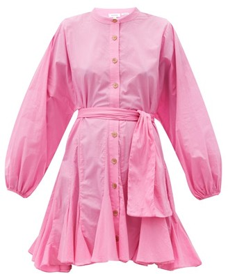 Rhode Resort Emma Balloon-sleeve Cotton-poplin Dress - Light Pink