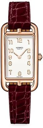 Hermes Nantucket 18K Rose Gold & Alligator Strap Watch