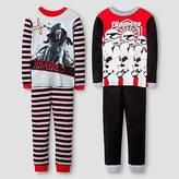 Star Wars Boys' ; Kylo Ren/Storm Trooper 4 Piece Cotton Pajama Set - Mult...