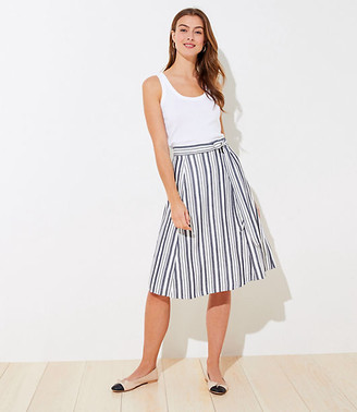 LOFT Striped Tie Waist Midi Skirt