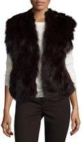 Adrienne Landau Rabbit and Fox Fur Vest, Merlot