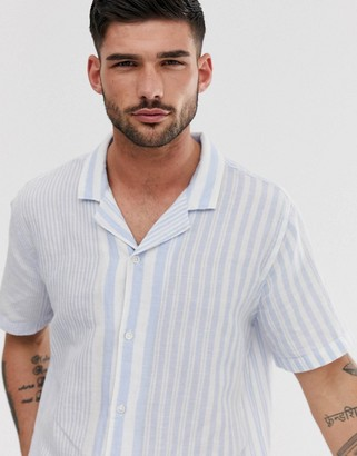 Levi's cubano short sleeve revere collar stripe shirt in mayhew skyway-White