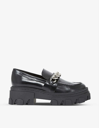 The Kooples Chain-embellished patent leather moccasins