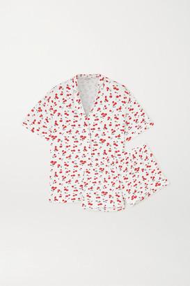 HVN Printed Stretch-modal Pajama Set - White