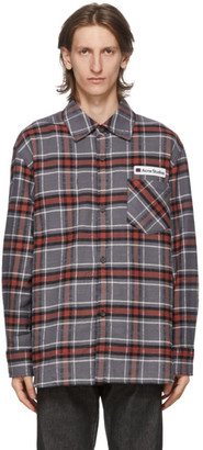 Acne Studios Grey and Red Flannel Logo Patch Shirt