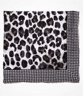 Express Houndstooth Frame Leopard Print Square Scarf