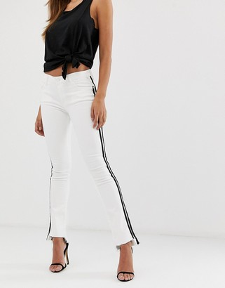 Replay white cropped bootcut jeans with black stripe