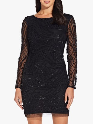 Adrianna Papell Beaded Long Sleeve Dress, Black