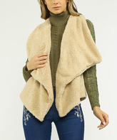 Flying Tomato Beige Ribbed-Back Faux Fur Vest