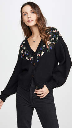 The Great The Pleat Sleeve Embroidery Cardigan
