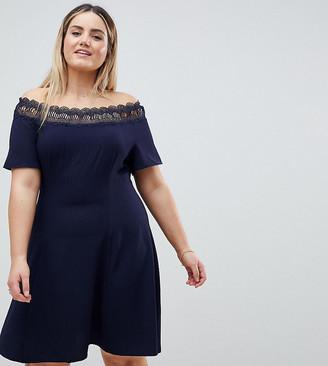 Lovedrobe Lace Trim Bardot Skater Dress