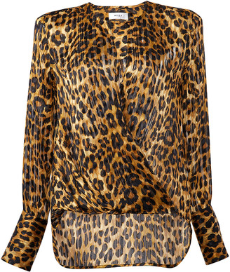 Milly Elysa Cheetah Print Surplice Blouse