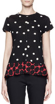 Proenza Schouler Short-Sleeve Ruffle-Hem Dot-Print T-Shirt, Black/Crimson/Multi