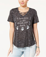 Hybrid Juniors' Moon Crisscross Graphic T-Shirt