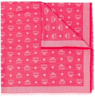 MCM Logo Print Silk-Wool Mix Scarf