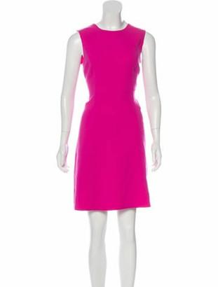 Oscar de la Renta 2018 Virgin Wool Mini Dress Fuchsia
