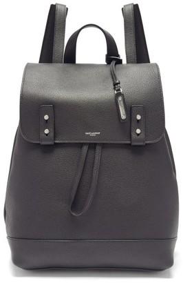 Saint Laurent Logo Grained-leather Backpack - Black