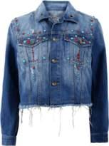 SHAFT JEANS Fray Denim Embroidered Jacket