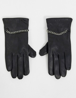 Barneys New York real leather gloves with chain detail in black