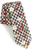 Nordstrom Edmond Floral & Check Cotton Skinny Tie