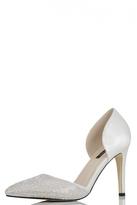 Quiz White Satin Diamante Pointed Court Shoes